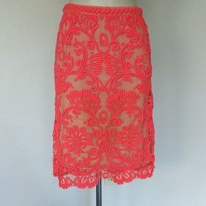 Anthropologie Bright coral embroidered skirt